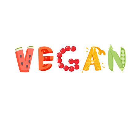 vegan food: Vegan vegetables lettering. Healfy food vector letter. Vegan lettering with vegatables isolated on white background. Text vector illustration. Vegan food vegetables word. Vegeterian food. Illustration