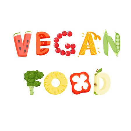vegan food: Vegan food vegetables lettering. Healfy food vector letter. Vegan food lettering with vegatables isolated on white background. Text vector illustration. Vegan food vegetables word. Vegeterian food.