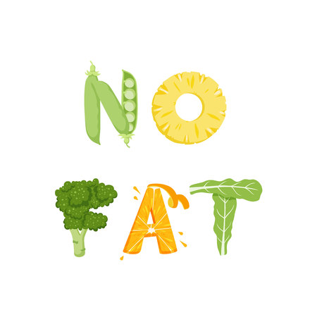 vegatables: No fat vegetables lettering. Healfy food vector letter. No fat lettering with vegatables isolated on white background. Text vector illustration. No fat vegetables word. Vegeterian food. No fat