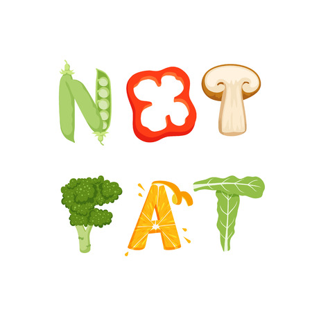vegatables: Not fat vegetables lettering. Healfy food vector letter. Not fat lettering with vegatables isolated on white background. Text vector illustration. Not fat vegetables word. Vegeterian food.