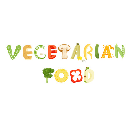 Vegetarian vegetables lettering. Healthy food vector letter. Vegetarian lettering with vegetables isolated on white background. Text vector illustration. Vegetarian food vegetables lettering.