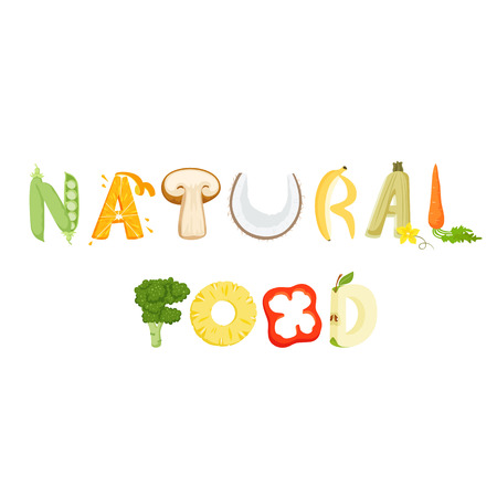 apples and oranges: Natural food vegetables lettering. Healthy food vector letter. Natural food with vegetables isolated on white background. Text vector illustration. Natural food vegetables word. Natural lettering.