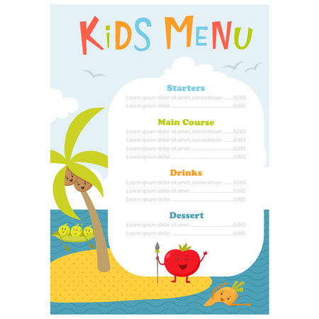aborigine: Kids menu. Cute kids meal meny vector template with cartoon vegetables. Healthy food for child. Kids meny flyer with sea island and aborigine tomato, carrot, peas, broccoli, coconut. Menu design
