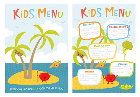 Kids menu. Cute kids meal meny vector template with cartoon vegetables. Healthy food for child. Kids meny flyer with sea island and aborigine tomato, carrot, peas, broccoli, coconut. Cover for menu