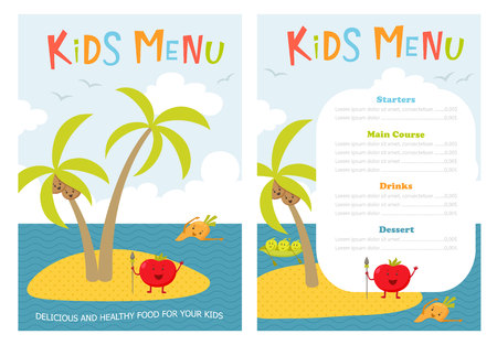 zanahoria caricatura: Menú infantil. niños lindos plantilla vector de Meny comida con verduras de dibujos animados. Alimentos sanos para los niños. Niños Mény volante con la isla del mar y tomate aborigen, zanahoria, guisantes, brócoli, coco. Cubierta para el menú