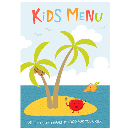 aborigine: Kids menu. Cute kids meal meny vector template with cartoon vegetables. Healthy food for child. Kids meny flyer with sea island and aborigine tomato, carrot, peas, broccoli, coconut. Cover for menu