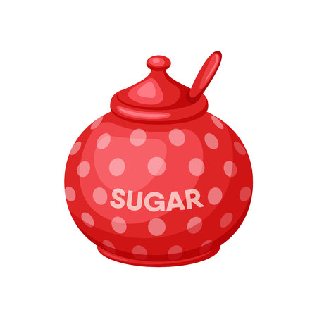 Sugar bowl. Sugar bowl with spoon. Baking and cooking Ingredients. Sugar bowl cartoon vector. Drink tea. Organic food. Sugar bowl set illustration. Kitchen utensils. Stock Illustratie