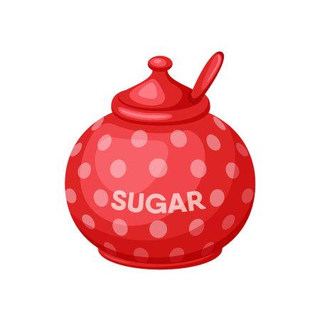 Sugar bowl. Sugar bowl with spoon. Baking and cooking Ingredients. Sugar bowl cartoon vector. Drink tea. Organic food. Sugar bowl set illustration. Kitchen utensils. Vettoriali