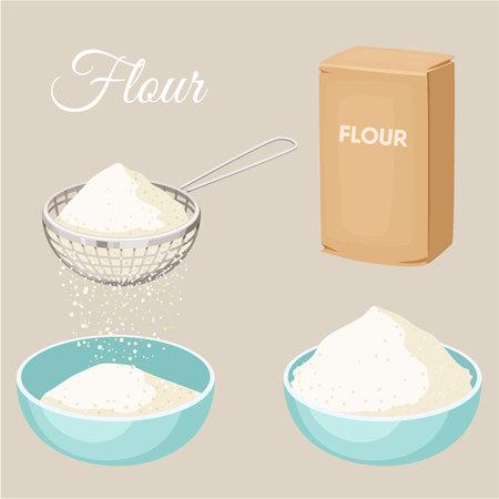 establece la harina. Tamiz de la harina, el paquete de harina, tazón. Hornear y cocinar los ingredientes. alimentos orgánicos saludables. vector de la historieta de harina. Cocinar la pasta. producto orgánico. Flour conjunto Ilustración. Utensilios de cocina.