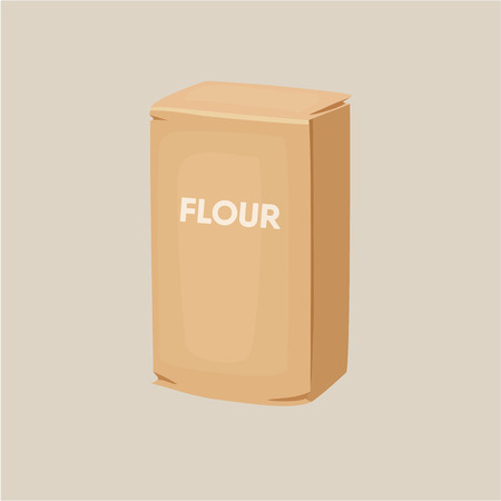 flour: Flour packaging. Package of flour. Baking and cooking Ingredients. Healthy organic food. Flour packaging cartoon vector. Dough cooking. Organic product. Flour packaging illustration.