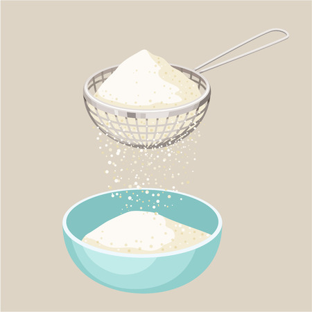 sieve: Flour sifter. Sieve the flour and a cup. Sift flour. Baking and cooking Ingredients. Healthy organic food. Flour sifter cartoon vector. Kitchen utensils. Dough cooking. Organic product. Illustration