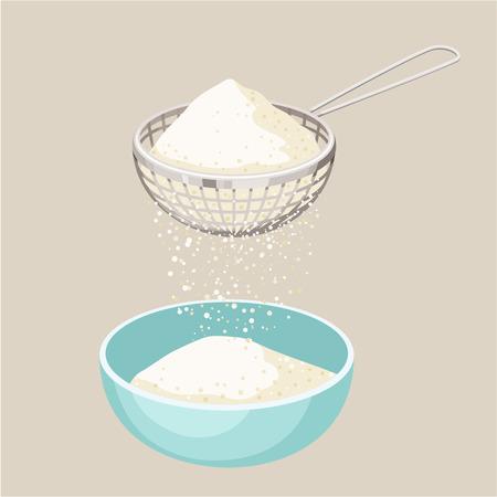 cocina caricatura: Tamiz de harina. Tamizar la harina y una taza. Tamizar la harina. Hornear y cocinar los ingredientes. alimentos orgánicos saludables. Tamiz de la harina de vectores de dibujos animados. Utensilios de cocina. Cocinar la pasta. producto orgánico.