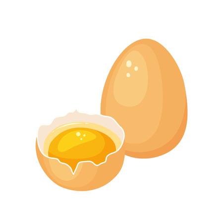 Jaune d'?uf. Crack oeuf avec le jaune. La cuisson et la cuisson des ingrédients. Eggshell et de protéines. aliments biologiques sains. produit de régime avec des protéines. oeufs crus cassés de bande dessinée avec le jaune.