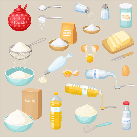 Baking ingredients set: sugar, salt, flour, starch, oil, butter, baking soda, baking powder, vinegar, eggs, whipped cream. Baking and cooking ingredients vector illustration. Kitchen utensils.  Food Stock Illustratie