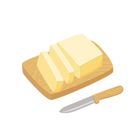 Boter stok met een mes. Gesneden Margarine blok. Bakselingrediënt boter of margarine stick. Butter vector illustratie. Boter op een snijplank. Voedsel voor het ontbijt. Vector Illustratie