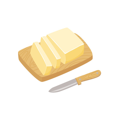 butter knife: Butter stick with knife. Sliced Margarine block. Baking ingredient butter or margarine stick. Butter vector illustration. Butter on a cutting board. Food for breakfast.
