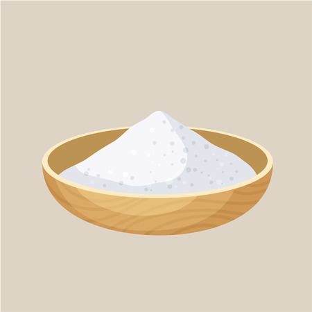 Salt bowl. Pile of salt in a wooden bowl. Baking and cooking ingredient. Cartoon vector illustration of salt. Food seasoning. Kitchen utensils salt bowl