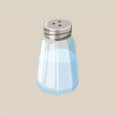 Salt shaker. Glass salt cellar. Baking and cooking ingredient. Cartoon vector illustration of salt. Food seasoning. Kitchen utensils salt shaker