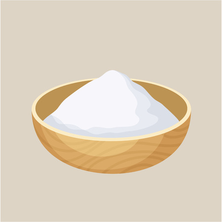 farina: Starch bowl. Pile of starch in a wooden bowl. Baking and cooking ingredient. Cartoon vector illustration of starch. Food seasoning. Kitchen utensils starch bowl Illustration
