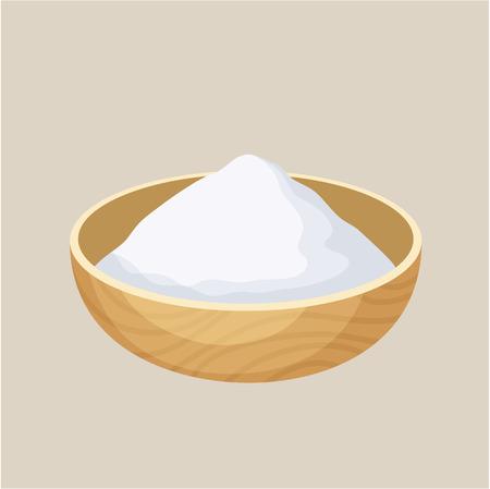 Zetmeel kom. Stapel van zetmeel in een houten kom. Het bakken en koken ingrediënt. Cartoon vector illustratie van zetmeel. Voedsel kruiden. Keukengerei zetmeel bowl Stockfoto - 54932316