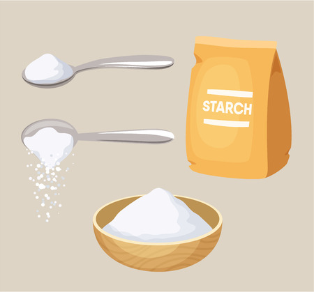 Starch set: starch pack, spoon and bowl of starch. Do pour starch from spoon. Baking and cooking ingredient. Cartoon vector starch. Food seasoning. Kitchen utensils: spoon and bowl. Starch packaging