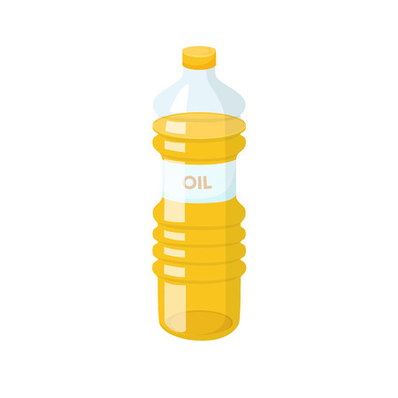 Cooking oil bottle. Baking and cooking ingredient. Cartoon vector cooking oil. Food fat bottle. Cooking oil packaging.  イラスト・ベクター素材