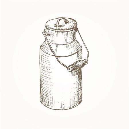 Milk cans sketch. Farm jar. Vintage container. Milk cans  illustration. Dairy jug. Hand drawn milk cans. Milk farm equipment
