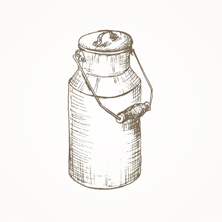 farm equipment: Milk cans sketch. Farm jar. Vintage container. Milk cans  illustration. Dairy jug. Hand drawn milk cans. Milk farm equipment