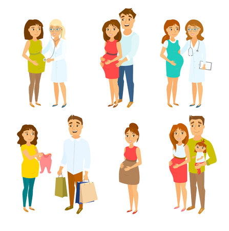 Pregnant couple set. Pregnant woman, her husband, doctor, child and men. Pregnancy health care. Happy couples and families expecting baby. ?ouple shopping. Family vector. Pregnant mom and gynecologist