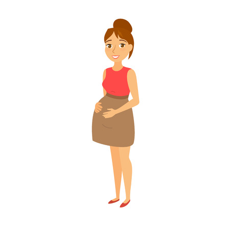 mother holding baby: Pregnant women. Pregnant woman holding belly. Happy mom expecting baby in dress. Fashion look for pregnant women. Beautiful mother. Cute  pregnant woman waiting for a child Illustration
