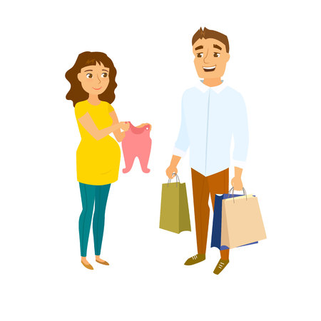 buyers: Pregnant couple shopping. Pregnant women and men in shop. Pregnancy buyer. Happy family couple expecting baby and shopping. Future parent shopping. Pregnant mom show clothes and her husband holding bags Illustration