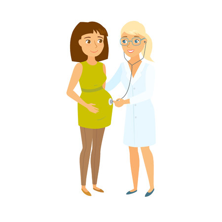 a lady doctor: Pregnant women and doctor. Pregnant mom and obstetrician gynecologist. Pregnancy health care. Women expecting baby appointment doctor. Healthcare and motherhood. Medical consulting. Doctor stethoscope Illustration