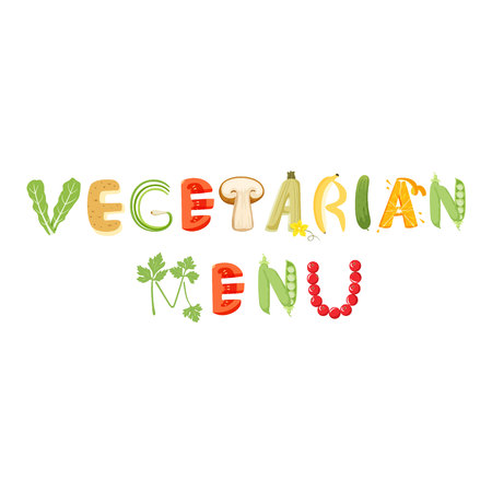 onions: Vegetarian menu vegetables letter. Healthy food vector letter. Vegetarian menu lettering with vegetables isolated on white background. Text vector illustration. Vegetarian menu vegetables font.