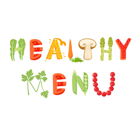 Healthy menu vegetables letter. Healthy food vector letter. Healthy menu lettering with vegetables isolated on white background. Text vector illustration. Healthy menu vegetables font.