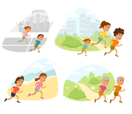 outdoor fitness: Run family, old couple and child. Healthy lifestyle illustration. Womans, man and child jogging. Runners people. Activity and sport. Fitness concept. Runners family: mom, dad and children run outdoor