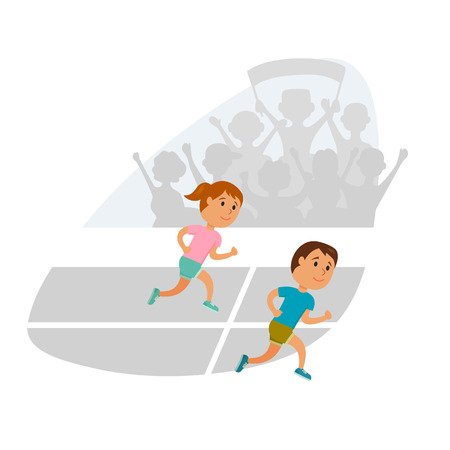 juniors: Group of children running. Running competition. Group of juniors run together. Jogging cartoon child. Sprint marathon. Kids sport and activity. Fans at the stadium. Girl and boy athletes Illustration
