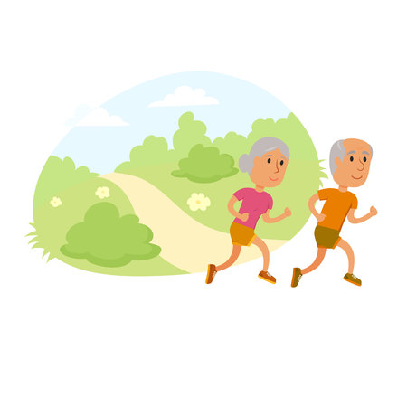 jogging in park: Old couple run. Healthy lifestyle illustration. Old woman and man jogging. Old people runners in city park. Activity and sport for old couple. Outdoor fitness concept. Seniors run.