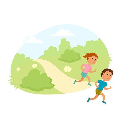Dzieci uruchomić. Zdrowy styl życia ilustracji. Dziewczyna i chłopak bieganie. Biegacze dziećmi w parku miejskim. aktywność i sportowe dla dzieci. Koncepcja outdoor fitness. Dziecko działać razem.