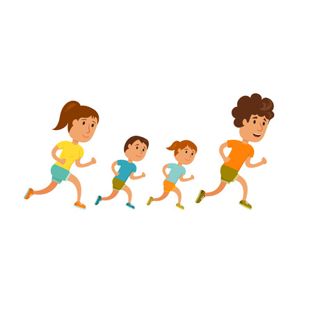 family park: Run family. Healthy lifestyle illustration. Woman, man and child jogging. Runners family in city park. Activity and sport for young parent and baby. Fitness concept. Family: mom, dad and childrens run Illustration