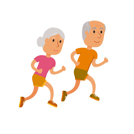 Old couple run. Healthy lifestyle illustration. Old woman and man jogging. Old people runners isolated on white. Activity and sport for old couple. Fitness concept. Seniors run. Stock Illustratie