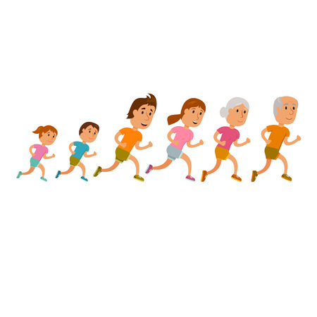 Run family. Healthy lifestyle illustration. Woman, man and child jogging. Runners family. Activity and sport. Fitness. Family: mom, dad, grandfather grandmother and children run Ilustração