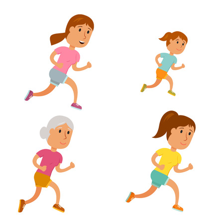 Run woman. Healthy lifestyle illustration. Girl, young and old woman run. Female runners. Activity and sport. Fitness for women. Mother, daughter and grandmother run
