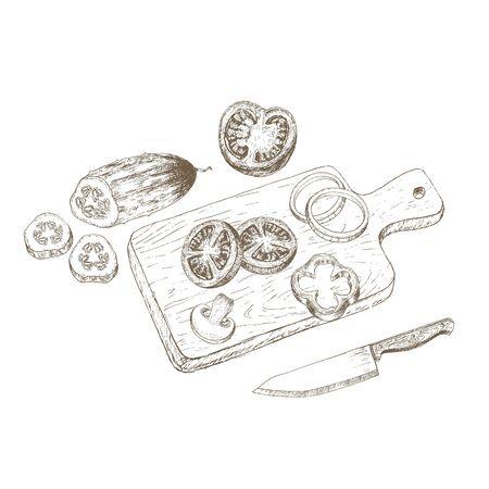Vegetable salad top view.  Sketch vegetable salad . Hand drawn vegetable salad. Vector vegetable salad on cutting board illustration. Cut organik vegetable. Vegetarian and vegan food. Stok Fotoğraf