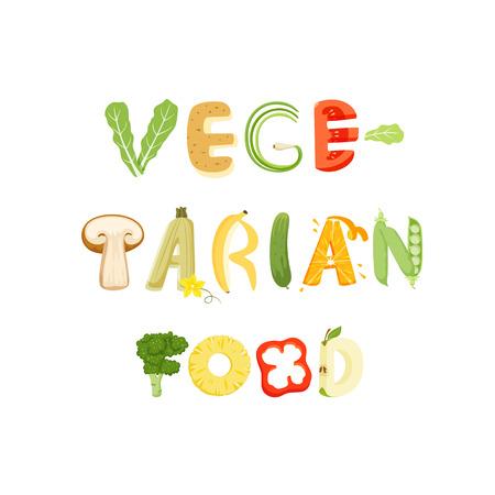 Vegetariana lettera verdure alimentari. lettera vettore cibo sano. Vegetariana lettering cibo con verdure isolato su sfondo bianco. illustrazione vettoriale di testo. Vegetariana carattere cibo verdure. Archivio Fotografico - 56732651
