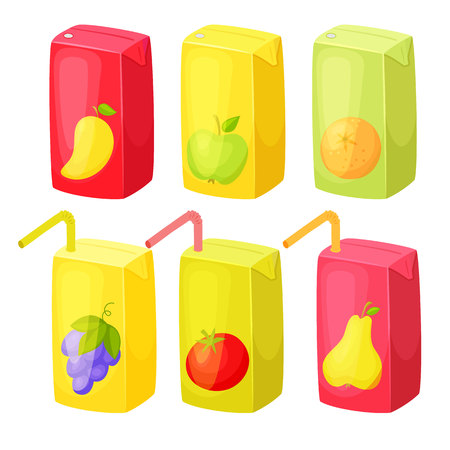 Juice package set. Juice box with straw.