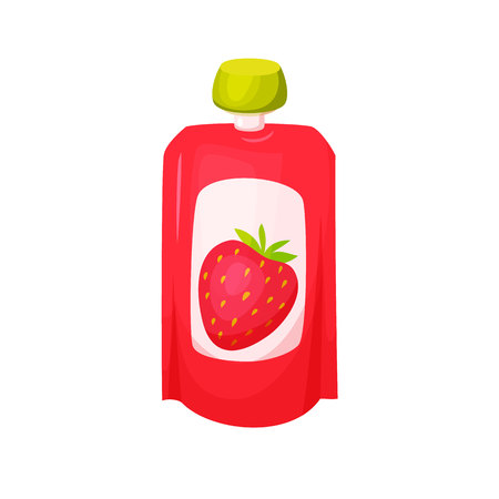 canned drink: Strawberry juice package.
