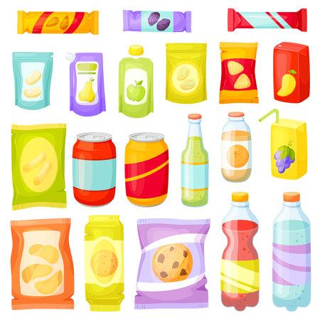 establece Snack Pack. snacking productos: chips, barras de muesli, galletas, refrescos, jugos, nueces. Aperitivos embalaje: paquetes, bolsas, cajas, doy pack, botellas, latas, bolsita. ilustración vectorial de comida rápida. Aperitivos y bebidas conjunto Ilustración de vector