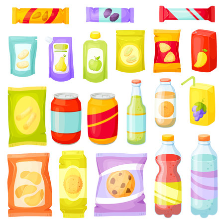 Snack pack set. Snacking products: chips, muesli bar, cookies, soda, juice, nuts. Snacks packing: packet, bag, box, doy pack, bottles, cans, sachet. Fast food vector illustration. Snack and drinks set Vettoriali