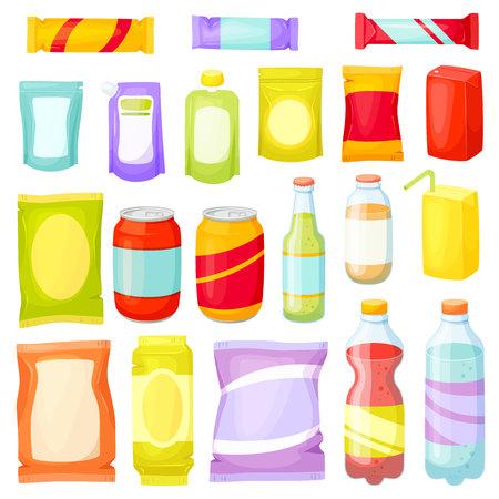 Snack Pack eingestellt. Snackverpackung: Paket, Tasche, Box, DOY Pack, Flaschen, Dosen, Beutel. Fast Food Vektor-Illustration. Snack und Getränke gesetzt. Verpackung für Naschen Produkte: Chip, Bar, Cookie, Soda, Saft Vektorgrafik