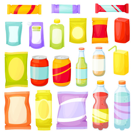 Snack pack set. Snecks packing: packet, bag, box, doy pack, bottles, cans, sachet. Fast food vector illustration. Snack and drinks set. Packaging for snacking products: chip, bar, cookie, soda, juice